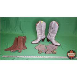 Ladies Grey Cowboy Boots (Size 8-1/2) & 2 Pairs Spats