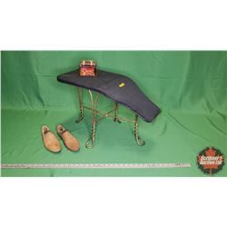 Shoe Store Seat & Wooden Shoe Forms & Novelty Shoe Shine Tin