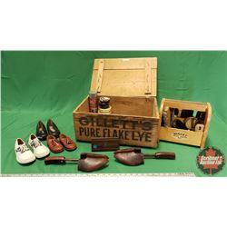 Shoe Shine Grouping in Gillette's Pure Flake Lye Wood Box & Shoes
