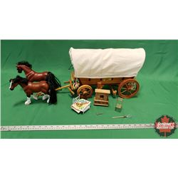 """Wooden Pioneer Covered Wagon (10""""H) with Horses & Miniature Accessories"""