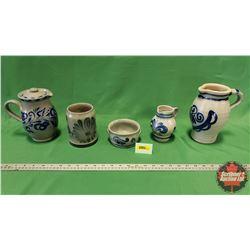Salt Glaze Pottery Collection (Blue/Grey) (5pcs)