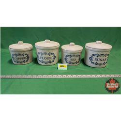 Crockware Canisters (4pc) Sugar, Tea, Flour & Coffee