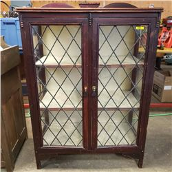 """Lead Glass Door China Cabinet - Glass Sides (44""""H x 32""""W x 15-1/2""""D)"""