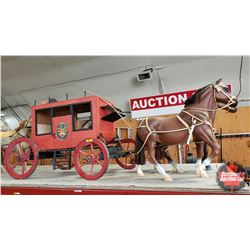 """Custom Built Stage Coach with Horse Team (Stage Coach = 22""""H x 20""""W x 54""""L including Pole) (Resin Ho"""