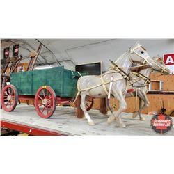 """Custom Built Wagon - High Side - Green & Horse Team (Wagon = 16-1/2""""H x 21""""W x 55""""L including Pole)"""