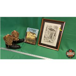 """Cowboy Collector Group: Framed Outhouse Print 92/300 (17"""" x 13"""") & Outhouses of the West BOOK & Smal"""