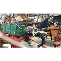 "Custom Built High Side Bob Sleigh - Green & 1 Horse (Sleigh = 14""H x 15""W x 60""L including Pole) (Re"