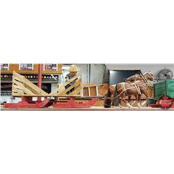 """Custom Built Hay Rack Bob Sleigh & Horse Team (Sleigh = 18""""H x 15""""W x 67""""L including Pole) (Resin Ho"""