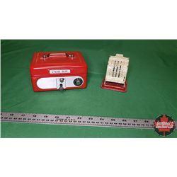 "Tin Cash Box Bank & Little Cash Register Tin Toy (3.5"")"