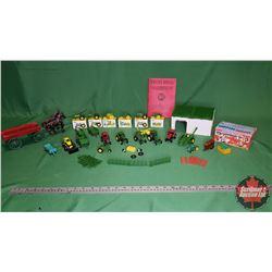 Tray Lot - Small Farm Toys: John Deere Tractors, Farmyard Animals, Cast Iron Horse Team/Wagon