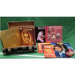 Elvis Albums (5) + Elvis Album Box Sets (2) + Carry Suitcase