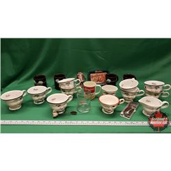 Tray Lot: Variety of Bailey's Head Mugs , Kraft Marshmallow Mugs, Hershey's Pewter Collector Spoon,