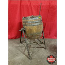"""Wood Barrel Butter Churn on Stand (31""""H to Barrel Top)"""