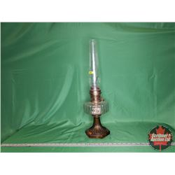 Aladdin Corinthian Coal Oil Lamp Clear / Amber Base - Aladdin Model B Burner