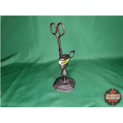 """Brass Candle Snuffer Scissors & Stand (Stand 4""""H)"""