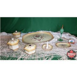 Tray Lot - Ladies Group: Dresser Set (Platter, Powder Box, Trinket Boxes, Ring Holder) + Perfume Bot