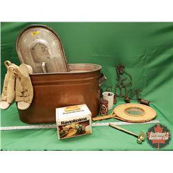 Copper Boiler Lot - Variety Contents: Pasta Maker, Ravioli Maker, Cat Chimes, Ladies Sandals, Wicker
