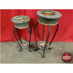 """Pair of 2 Tier Plant Stands (27""""H) & (24""""H)"""