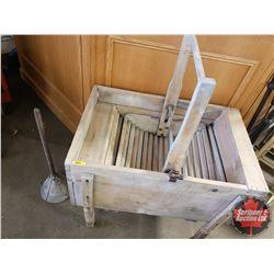 """Antique/Settler Style Wooden Washing Machine """"Sunshine"""" (40""""H x 32""""W x 22""""D)"""