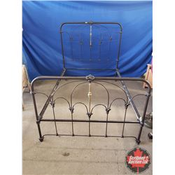 """Brown & Brass Wrought Iron Bed Frame with Rails (Double) (Headboard 55""""H x 53""""W) (Footboard 38""""H)"""