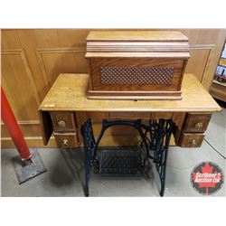 """The Singer Sewing Machine Company Treadle Machine with Decorative Cover 1892 S/N#10835311 (40""""H x 35"""
