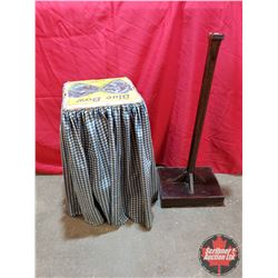 """Wood Box Converted to Skirted Table (26""""H) & Wood Pedestal Stand with Weighted Base - Custom Built -"""
