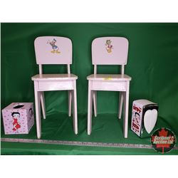 """Small Pink Children's Chairs - Donald Duck on Back Rest (2) (Chairs 22""""H) & Betty Boop Kleenex Holde"""