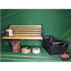 """Small Decorative Park Bench - Cast Sides (16""""H x 26""""W x 10""""D) & 4 Tins & Décor Piece"""