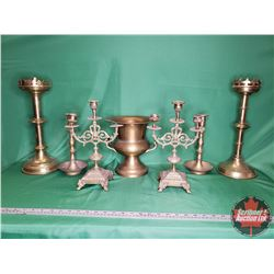 Brass Candle Stick Holders Collection - Variety (6) + Brass Spittoon