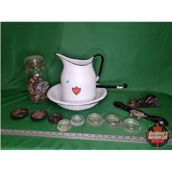 Tray Lot: Enamel Pitcher & Basin & Dipper & Small Wood Plane & Draw Knife & Jar of Antique Castors &