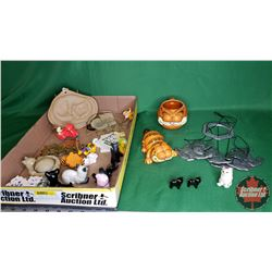 Tray Lot: Cat Lovers Collection - Variety of Ornaments, Windchimes, Cup, etc (Incl Garfield)