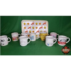 Tray Lot: Cat Lovers Collection of Cups - Variety (9) + Tender Vittles Place Mat