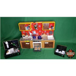 """Tin Toy Kitchen with MANY Miniature Accessories  (Kitchen 12""""H x 15-1/2""""W x 4""""D)"""