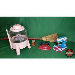 Toy Collection : Tin Toy Washing Machine (Pink) & Tin Toy Mixer & Tin Iron & Small Baking Powder Tin