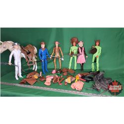 """Marx Johnny West Toy Figures (6) (11""""Tall) & Accessories + Toy Horse with 2 Saddles"""