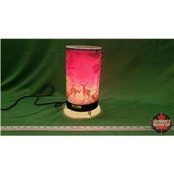 Vintage Motion Lamp : Forest Fire (Deer & Log Cabin)