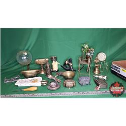 Tray Lot: Variety of Ornaments (Brass Sink Soap Dish, Brass Claw Foot Tub, Brass Chair, Trinket Boxe