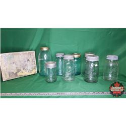 Tray Lot: Jars - Variety (Size/Styles) (8) & Homemade Cardboard Trinket Box