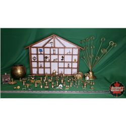 Tray Lot : Incredible Miniature Brass Ornament/Clock Collection & Wall Mount Curio Shelf + 2 Larger
