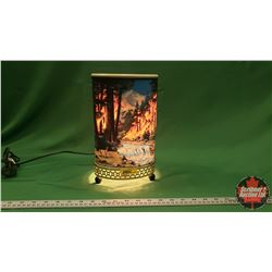 Vintage Motion Lamp : Forest Fire (Waterfall & Bear) (Some damage & No Spin)