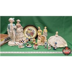 Tray Lot: Variety Victorian Figurines, Petit Point Round Framed, etc