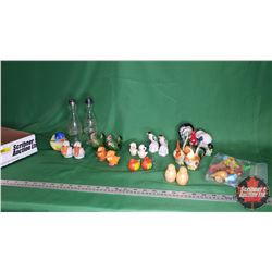 Tray Lot: Salt & Pepper Shaker Collection (Birds) (Approx 21 Items) + Other Bird/Animal Ornaments