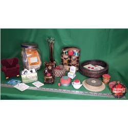 Tray Lot - Seamstress Collector Combo: Pin Cushions, Threads, Jar, Vase, Wooden Organizer, etc