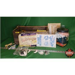 Wood Box Lot - Seamstress Items: Large Jars Lace, Hot Iron Transfers, Crafts, Embroidery Patterns, e