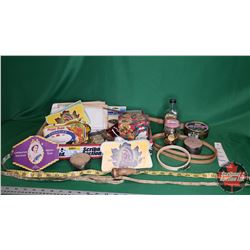 Tray Lot - Seamstress Collector Combo: Coronation Souvenir Needle Book Package, Rawleigh's Sewing Ma