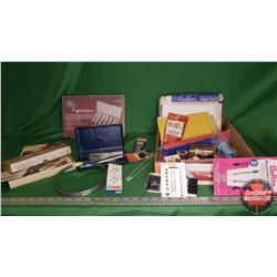 Tray Lot - Seamstress Collector Combo: Embroidery Patterns, Thread, Needles, Bobbins, Sewing Pattern