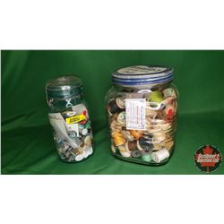 2 Jars with Contents: Thread/Spools & Buttons