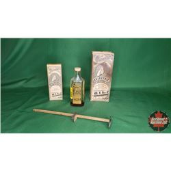 Thomas Eclectric Oil (2 Bottles with Boxes & 1 w/o Box) + Antique Eye Exam Slide Tester