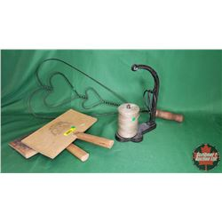 """Rug Beater & Wool Carder """"Old Whittemore Patent No. 5"""" & String & Scissor Holder"""