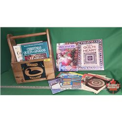 Loon Canoes Wooden Carrier with Variety of Quilting & Needlework Books